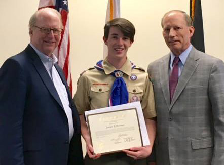 James Holmes honored by Warren Slocum for Eagle Scout Service Project