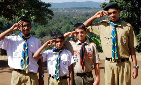 Samuel Moore with Tanzanian Scouts