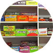 Candy shelves at Trading Post