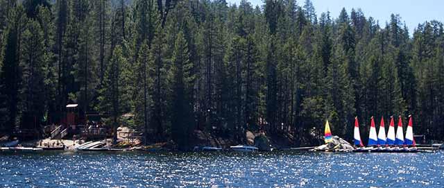 Camp Oljato waterfront, sailboats, lake