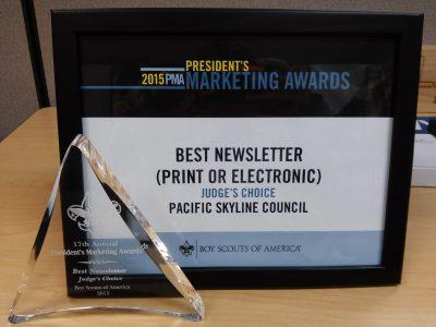 Marketing awards: framed certificate and glass award