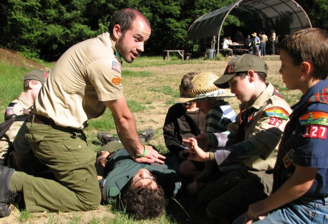 Webelos learning CPR