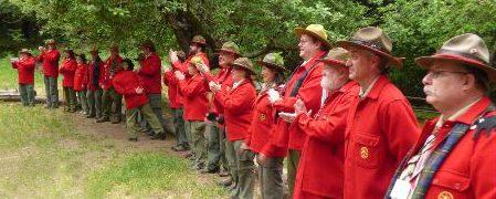 Wodd Badge red jacket lineup