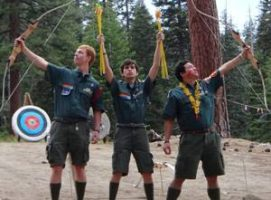 Camp staff archery men