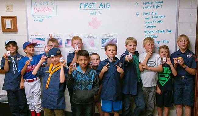Cub Scouts with First Aid kits