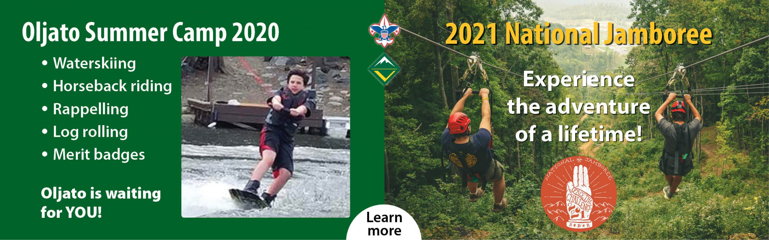 Banner for 2020 Oljato Summer Camp and 2021 National Jamboree