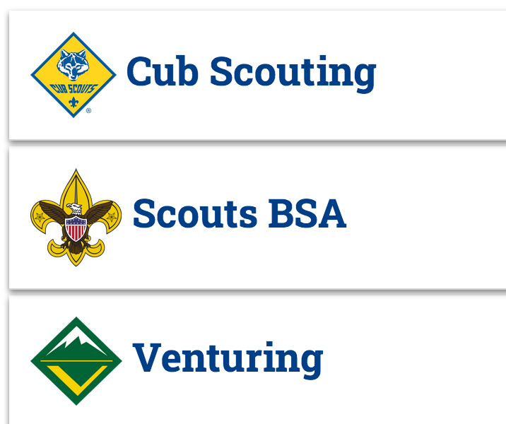 Cub, Scouts, Venturing headings