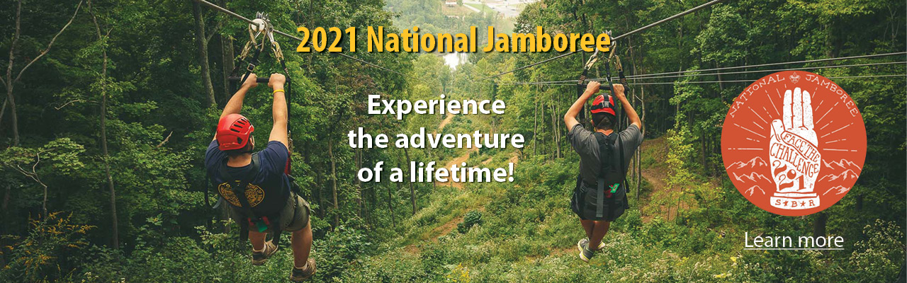 2021 Jamboree banner, zipliners