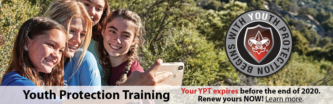 Youth Protection Training banner, required every two years for every leader, Scouts BSA girls taking selfie outdoors, learn more
