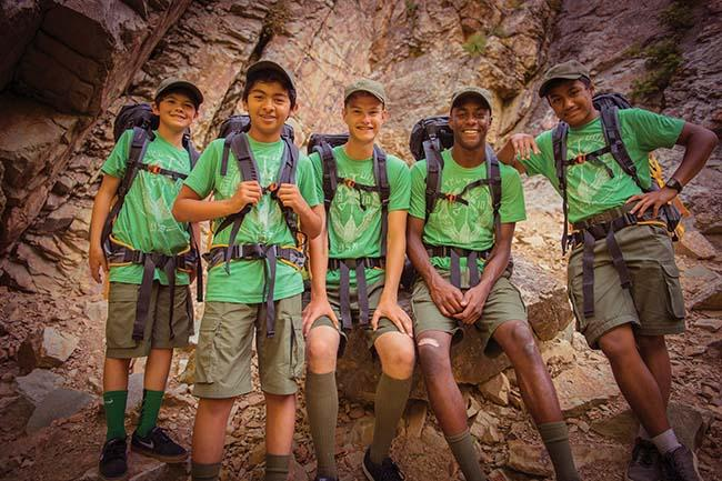 Scouts BSA boys happy diverse hikers