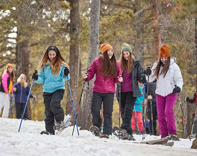 Scouts BSA girls happy snow shoeing