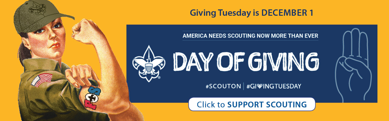 Friends of Scouting, donate now banner