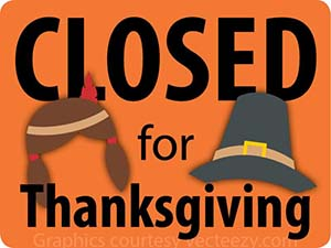 CLOSED for Thanksgiving graphic