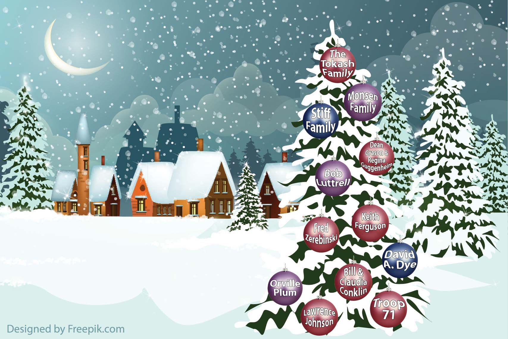 Snowy night scene with cabins, trees, ornaments