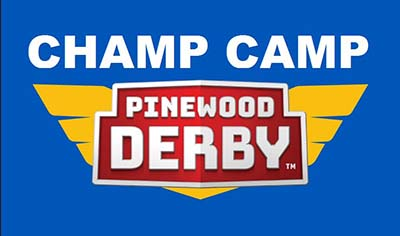 Blue Pinewood Derby Champ Camp graphic